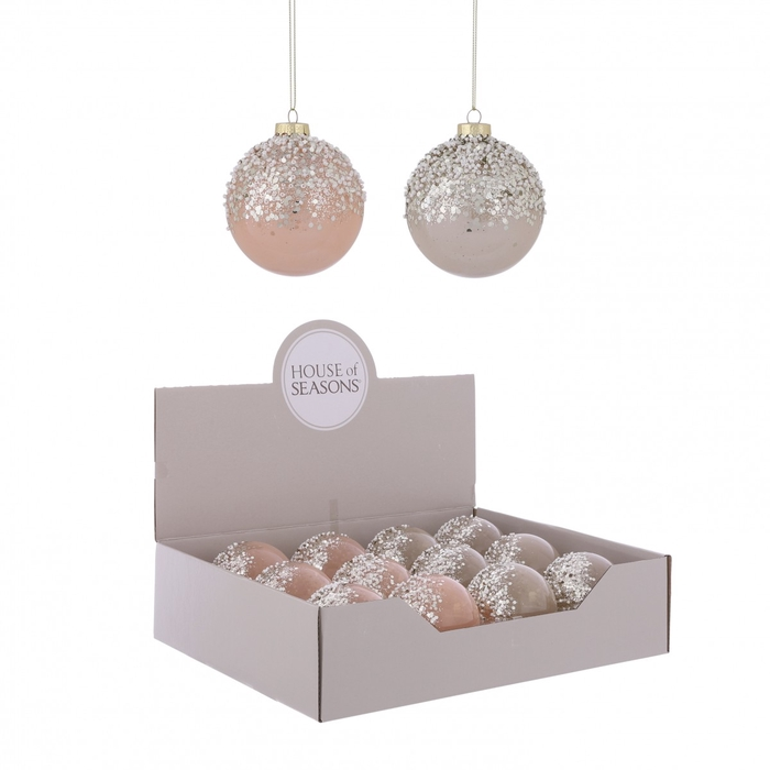 <h4>Christmas bauble Bal deco glitter 80mm ass.</h4>