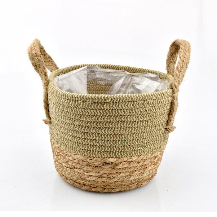 <h4>Baskets Straw+hessian pot d21*17cm</h4>
