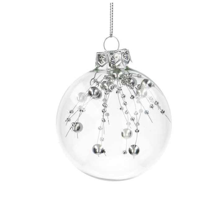 <h4>Christmas bauble Ball deco silver 80mm</h4>