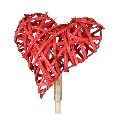 <h4>Bijsteker hart woody 7,5x7,5cm+50cm stok rood</h4>
