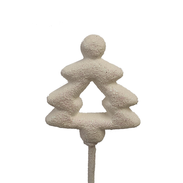 <h4>Styropor Christmass tree on stem White with glitter</h4>