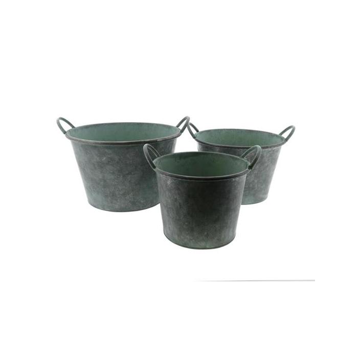 <h4>Planter Mtl S/3  Ø32x20cm Gree</h4>