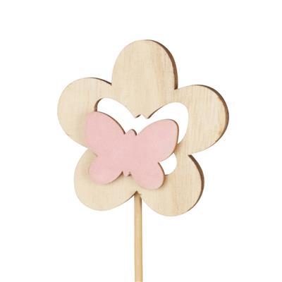<h4>Bijsteker bloem hout+velvet 7cm+12cm stok roze</h4>