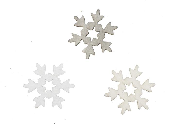 <h4>Kerst Sneeuwvlok hout 3cm 3ass x60</h4>