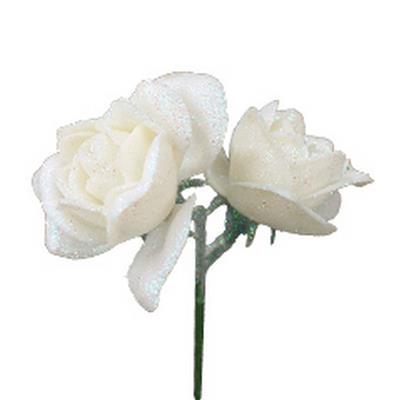 <h4>Pique Rose 2x Ø4cm+10cm sur tige blanc - 24 pc</h4>