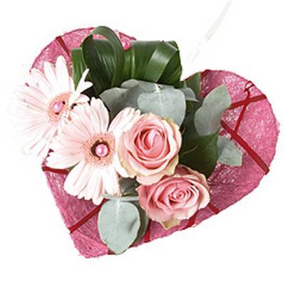 <h4>Bouquet holder heart shape Ø20cm pink</h4>