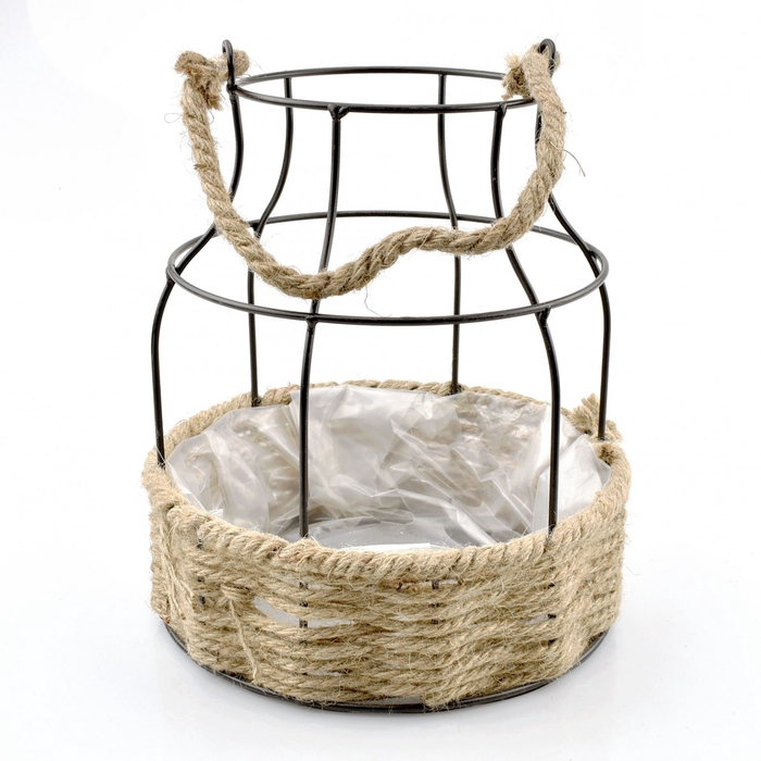 <h4>Baskets Planter rope+wire d22.5*26cm</h4>