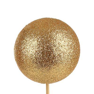 <h4>Bijsteker Kerstbal glitter Ø6cm+50cm stok goud 100</h4>