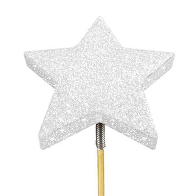 <h4>Bijsteker glitter ster foam Ø7cm+12cm stok wit</h4>