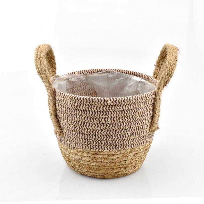 <h4>Baskets Straw+hessian pot d19*15.5cm</h4>