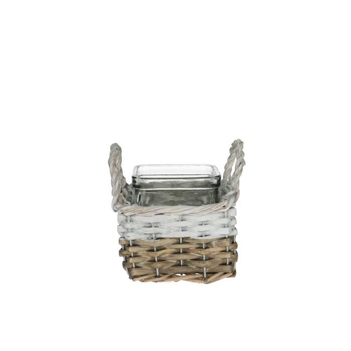 <h4>Glass Basket+1tray d7.5*7.5cm</h4>