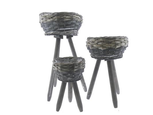 <h4>Basket Rattan+feet S/3 Ø24x48</h4>