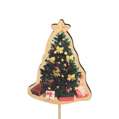 <h4>Bijsteker kerstboom Cosy hout 9x7cm+12cm stok</h4>