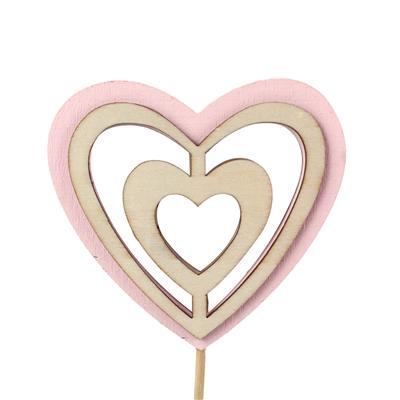 <h4>Bijsteker Double Heart hout 9x10cm+12cm stok roze</h4>
