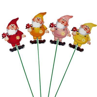 <h4>Pique gnome 8x6cm+20cm sur tige mix 24st</h4>