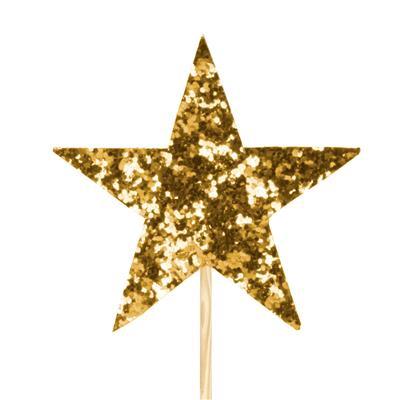 <h4>Pique star feutre 7x7cm +12cm bâton or</h4>