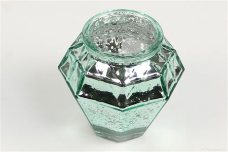 <h4>SHIMMER ETCHED TLIGHT GLASS ROUND H9.0 D9.0 GREEN 861824049</h4>