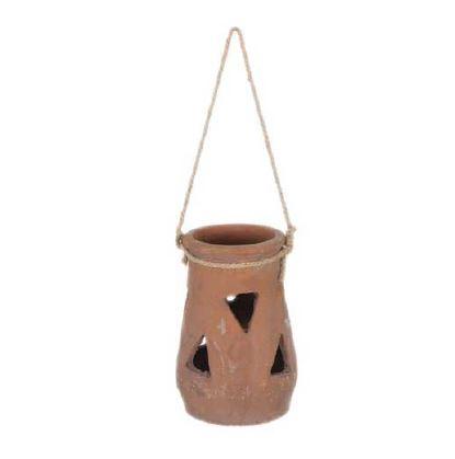 <h4>DF883818800 - Lantern terracotta h21.5 red/grey</h4>