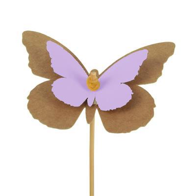 <h4>Pique Papillon kraft 7x9cm+bâton 50cm lilas</h4>
