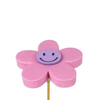 <h4>Bijsteker bloem Happy foam 7cm+ 12cm stok roze</h4>