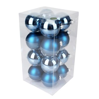 <h4>Boules de nöel en tube 80mm ass Steel Blue 16pcs</h4>