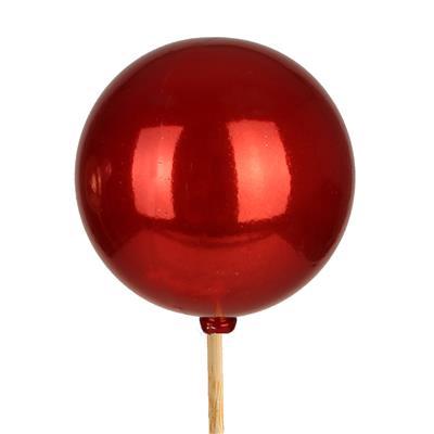 <h4>Bijsteker kerstbal parelmoer Ø6cm+50cm stok rood</h4>