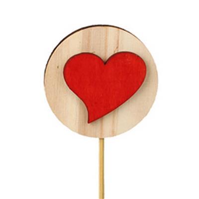 <h4>Pique disque en bois+cœur bois 5,5cm+12cm rouge</h4>