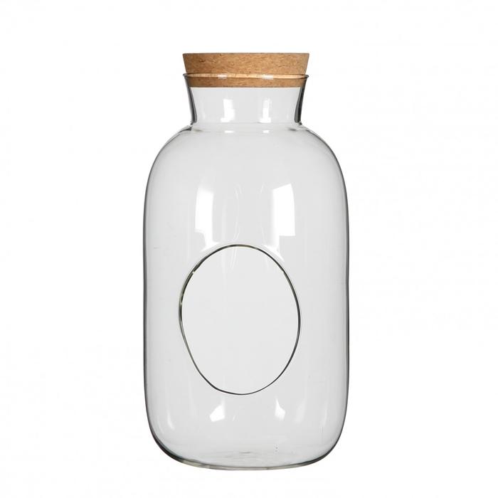 <h4>Glas Kurk Fles+gat d12*23cm</h4>
