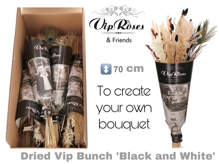 DRIED VIP BOUQUET BLACK & WHITE