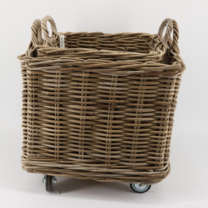 <h4>Baskets Rattan sq.+wheels S/2 d50*50cm</h4>