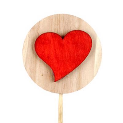 <h4>Pique disque en bois+cœur bois 7cm+50cm rouge</h4>