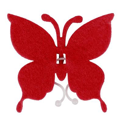 <h4>Butterfly felt 8x8,5cm + clip red</h4>
