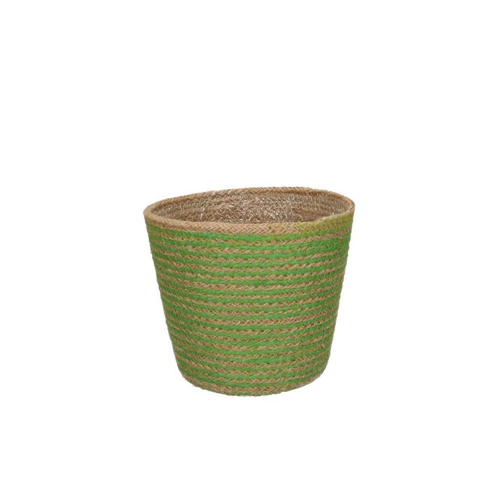 <h4>Baskets Pot Jute stripes d15*13.5cm</h4>