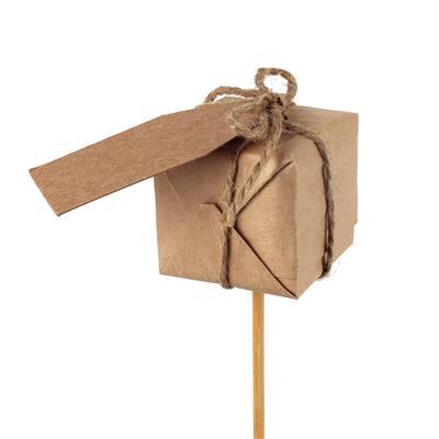 <h4>Pique boite cadeau papier 4x4cm+bâton 12cm</h4>