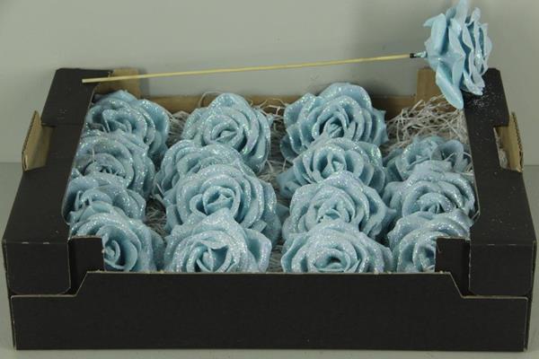 <h4>Wax Rose Blue Glt + Stk 30cm</h4>