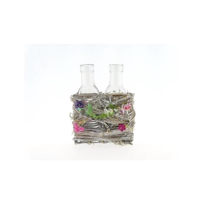<h4>Basket Vines+flowers+2 Glass</h4>