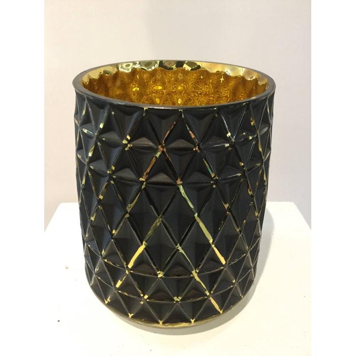 <h4>TAMBORA POT ROUND BLACK GOLD  13X15CM OASIS-DECO</h4>
