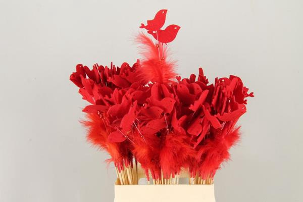 <h4>Stick Feather+prl+bird Red</h4>
