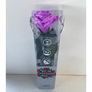 Roos op steel mini bright lilac plexi