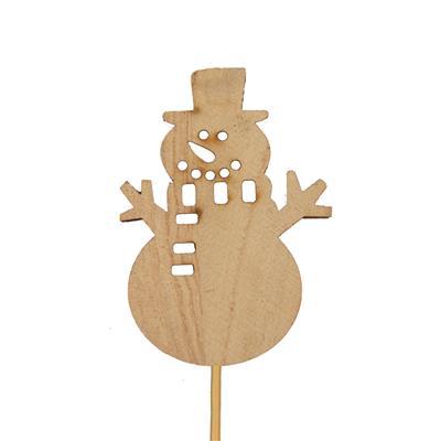 <h4>Bijsteker sneeuwpop hout 7,7x5cm+12cm stok naturel</h4>