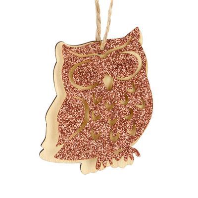 <h4>Hanger Glitter uil 6cm+16cm touw oranje</h4>