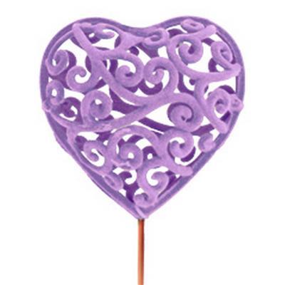 <h4>Heartroque 7cm sur tige de 50cm lilas</h4>