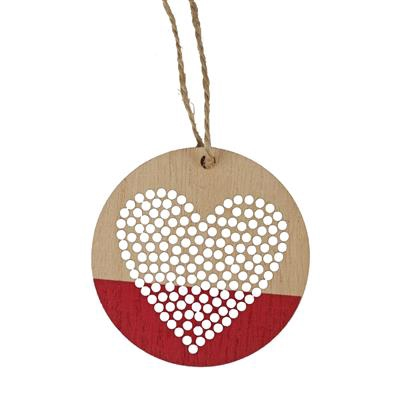 <h4>Hanger Punched Heart hout Ø7cm+16cm touw rood</h4>