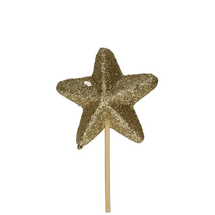 <h4>Kerst bijsteker 50cm Ster glitter d6cm</h4>