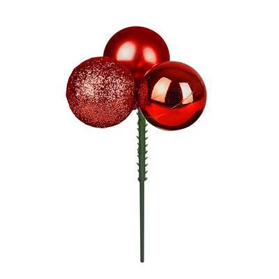 <h4>Bijsteker kerstbal pl. 3x3cm+10cm stok ass rood</h4>