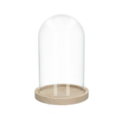 <h4>Glass Cloche+wood d12*20cm</h4>