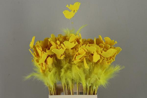 <h4>Stick Feather+prl+bird Yellow</h4>