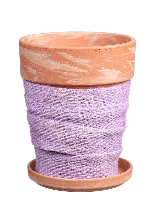 <h4>DF010057137 - Pot+saucer Lilo+jute lilac d11.6xh14.8</h4>