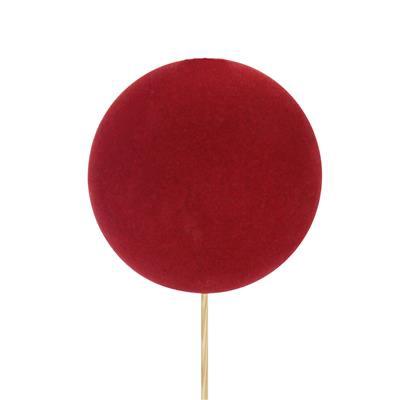<h4>Pique boule de Noël velours Ø8cm+50cm bâton rouge</h4>