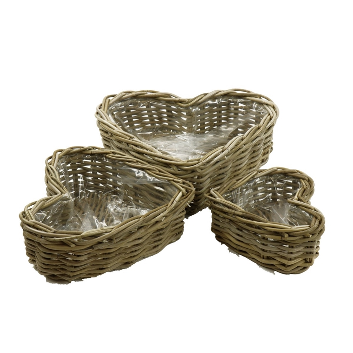 <h4>Baskets Rattan heart S/3 42*36cm</h4>